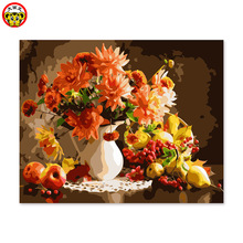 Digital color DIY color acrylic paint their desktop decoration painting Basket Vase pictures by numbers flowers
