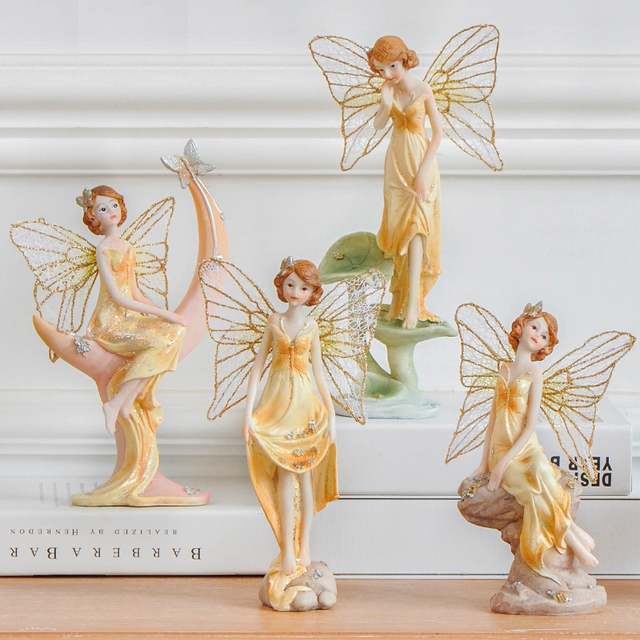 korean creative fairy ornaments kawaii resin doll fairy angel handicraft home decorations resin crafts furnishings - Angel Decorations