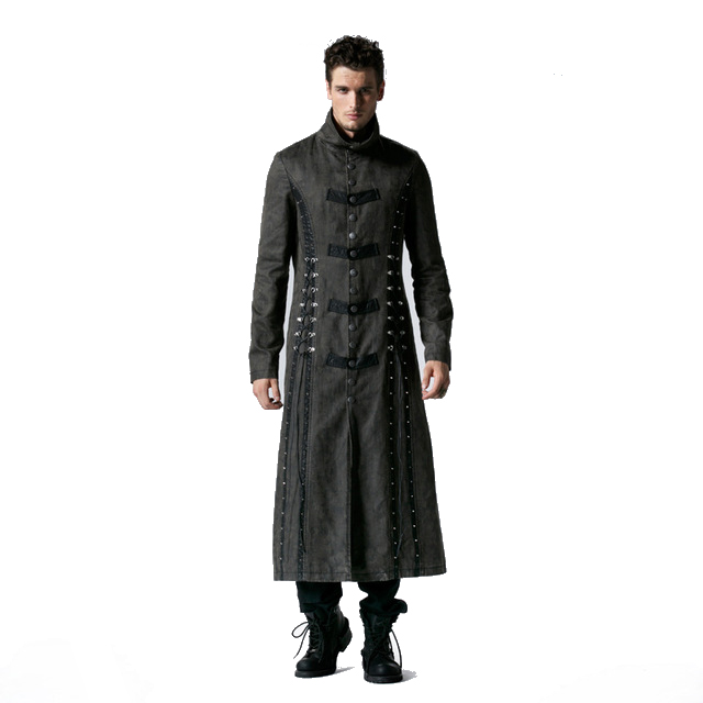 Punk Patchwork Long Coats Heavy Metal Bandage Winter Men Outerwear Coat Splicing Leather Trench Coats