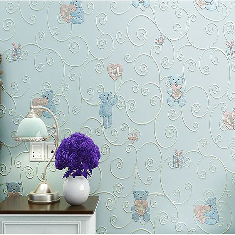 3D Embossing Cartoon Wallpaper Children Bedroom Living Room Cute Cartoon Wallpaper Pattern Environmental Protection Wall Paper blue earth cosmic sky zenith living room ceiling murals 3d wallpaper the living room bedroom study paper 3d wallpaper