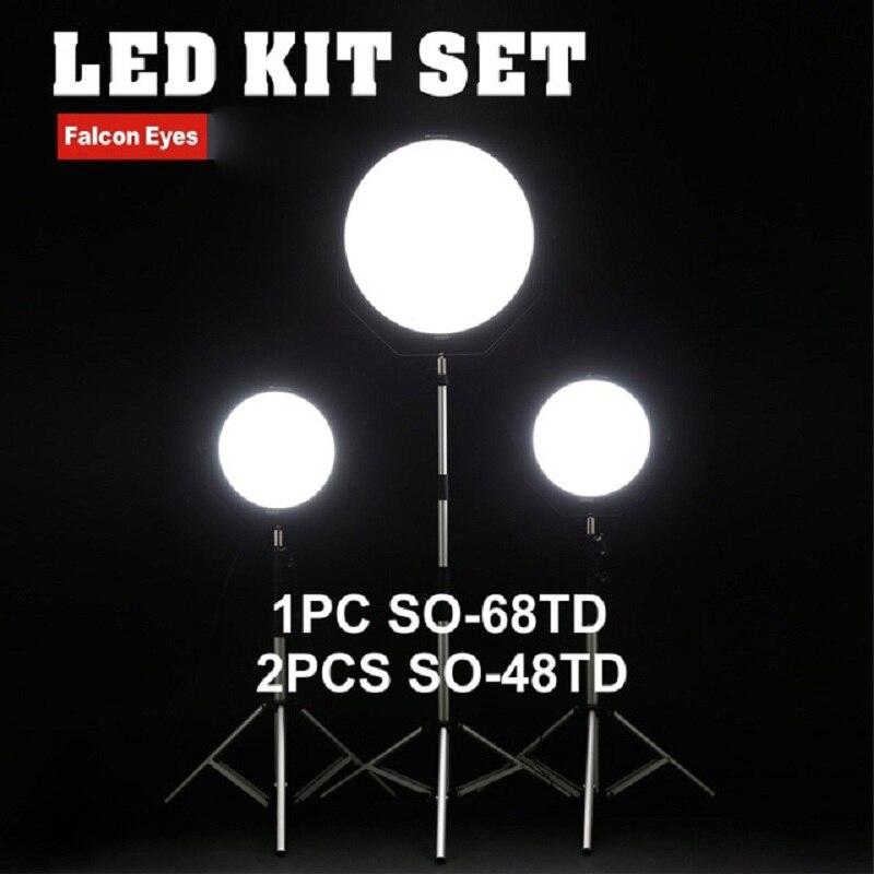 Falcon Eyes 48 W 68 W LED Kit de panneau ensemble Dimmable haute CRI95 3000-5600 K éclairage Photo vidéo Film continu lumière SO-48TD SO-68TD