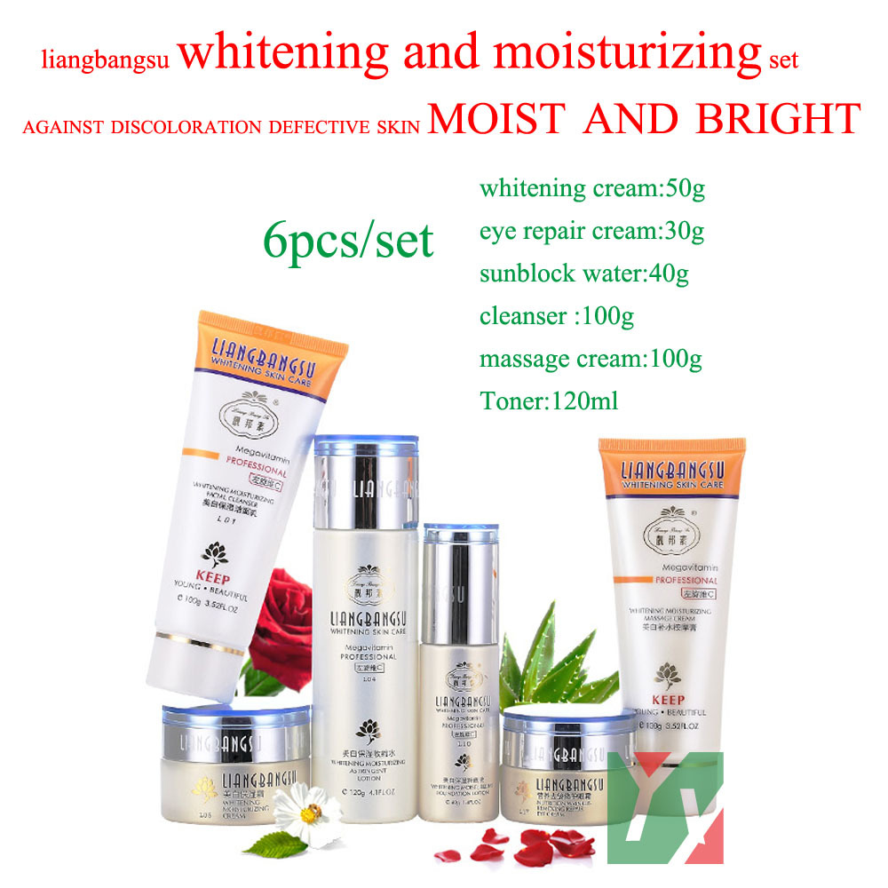 цена на 100% genuine face care 6pcs/set hot Wholesale and retail liangbangsu whitening moisturizing set