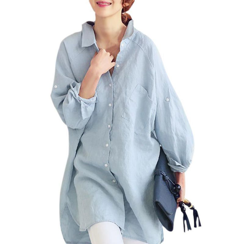 2017 Women Summer Casual   Blouse   Loose   Shirts   Long Sleeve Linen   Blouse   Tops Solid Color Modern Simple Chic Style
