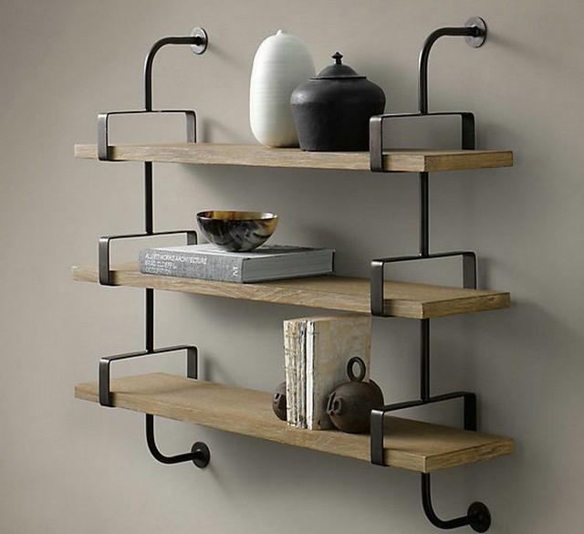 Ikea Solid Wood Wall Shelf Racks Set Top Box Frame Hanging Shelves Bulkhead Bookcase American Furniture
