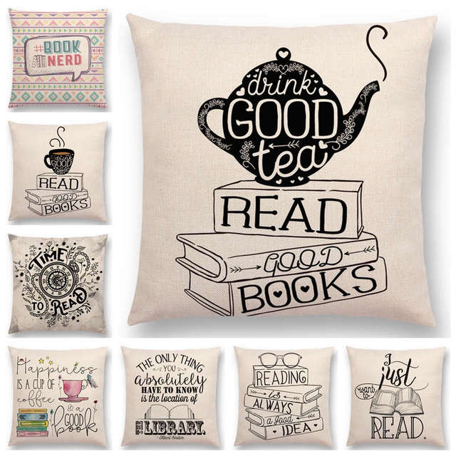 Books&Tea Decorative Cushion Cover