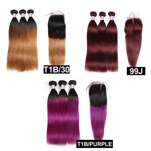 Allove 1B фиолетовый Омбре прямые волосы пучки с закрытием Омбре бразильские волосы плетение пучки с закрытием не Remy человеческие волосы