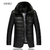 XL 9XL Fur Collar Casual Solid Leather Jacket Mens Coat 2017 Mens Winter Jacket Men Leather Jackets Male Plus Size Top Quality