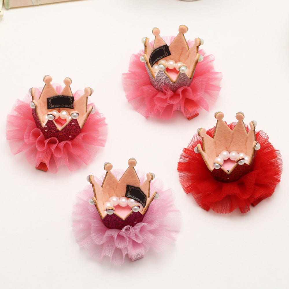Dog Cat Pet Hair Clip Hairoins Cute Lace Princess Crown Wedding Birthday Party Photography Decoration Pet Supplies Gift