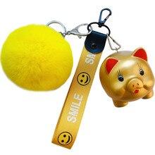 2019 PVC Animal Lucky pig Keychain for Men Women Bag Ornament Silver Gold Phone Key Chain Ring Porte Clef keyring Pendant