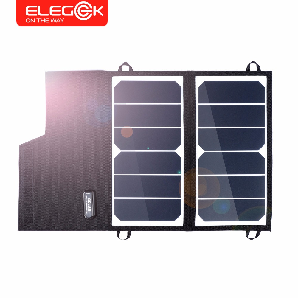 ELEGEEK 12W 5V Foldable Solar Panel Charger Battery Charger for Power bank Portable Solar Charger for Mobile Phone/iPad 5500mah solar charger 5v 0 8w beetle shaped phone mobile power bank