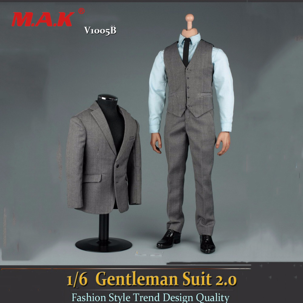 2 colors 1/6 Scale Grey Gentleman Suit 2.0 V1005B Fit 12 Male Action Figure Model for collection vortoys v1005 1 6 the british gentleman suit 2 0 in a black b gray c stripe for 12 beckham collectible action figure diy