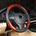 Tampa da roda de direcção do carro de couro falso de madeira espaço ao volante 38 cm/36 cm/39 cm para volkswagen vw golf 4 5 honda mercedes