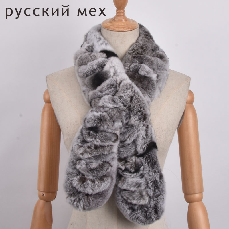 Autumn Lady Genuine Rex Rabbit Fur Scarves Wraps black brown Winter Women Fur Accessory Rings Females Neckerchief 110cm(China)