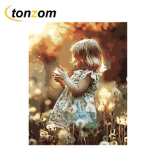 RIHE Girl With Flower Diy Painting By Numbers Farm Oil On Canvas Hand Painted Cuadros Decoracion Acrylic Paint Art