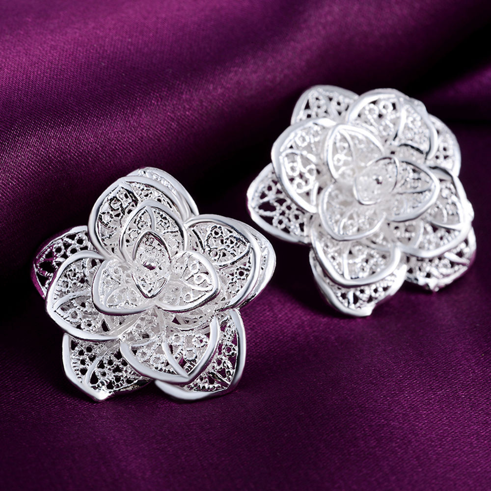 new Beautiful Flower silver stud earrings for woman lady high quality fashion classic jewelry stud