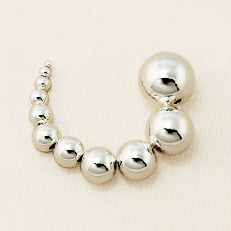 Sterling Silver 9 MM Round Seamless Hollow Beads Pack Of 4