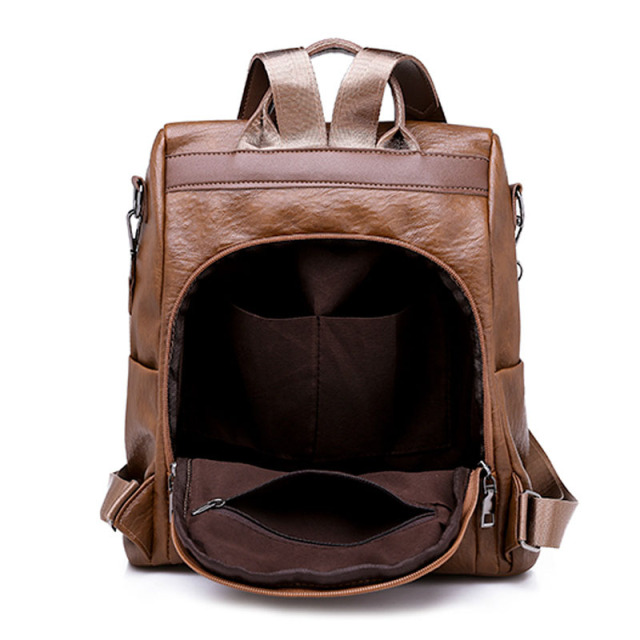 Buy Brown Women Leather Backpack Multi function Retro Travel Backpack For Girls