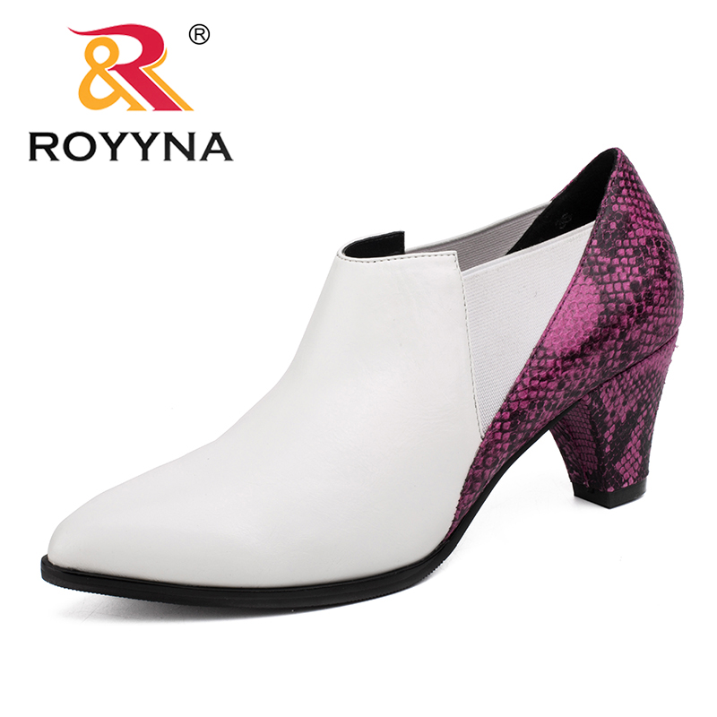ROYYNA 2017 Fashion New Style Women Pumps Pointed Toe High heels Casual Shoes Women Serpentine Leather Upper Women Shoes Retail 2017 hot sale fashion new women shoes pointed toe transparent pvc party shoes women casual high heels pumps shoes 596
