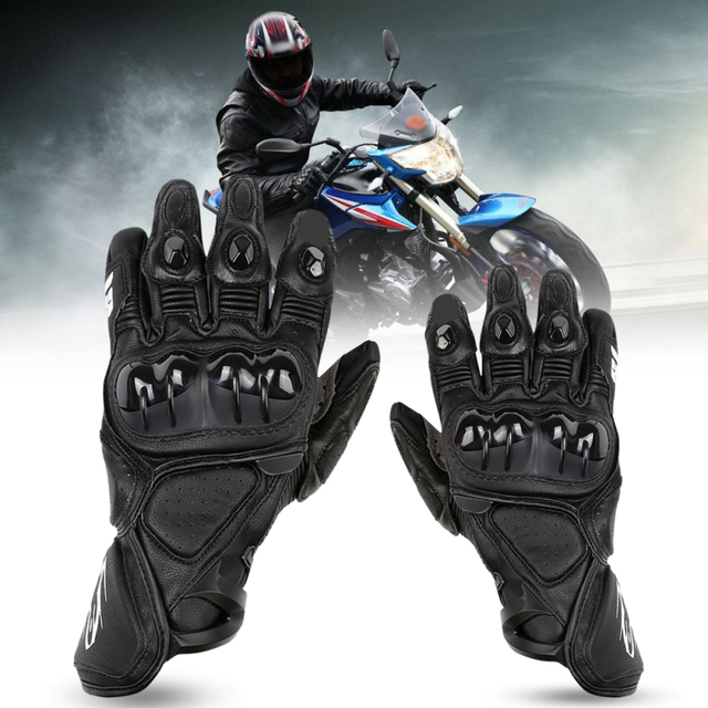 CAR-partment Motorcycle Gloves Black Leather Motocross Offroad Breathable Racing