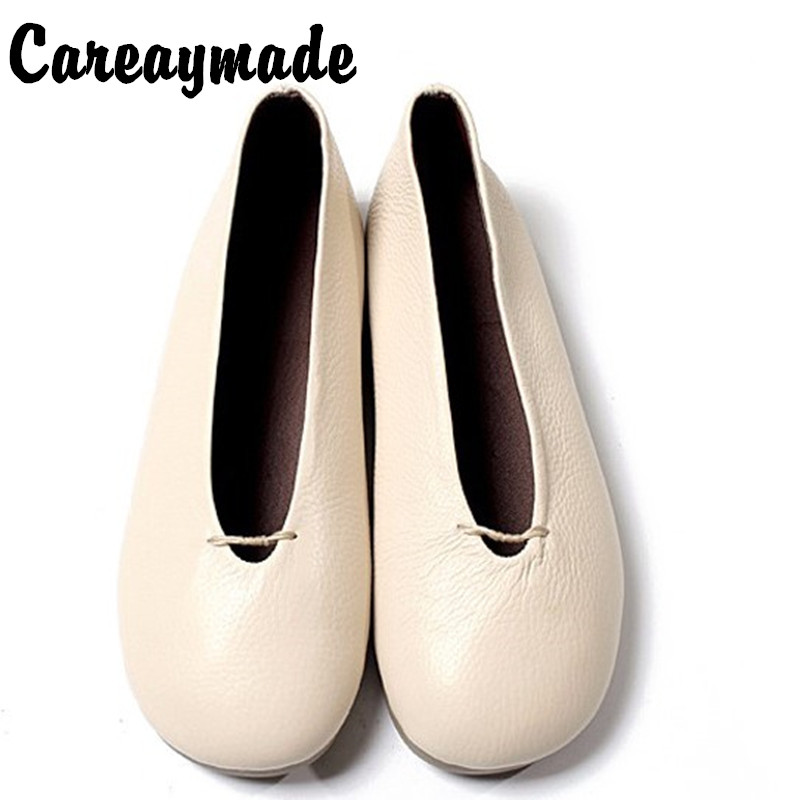 Careaymade-New Literary Retro Pure Handmade Shoes Head Layer Cowhide Low Shallow Mouth Documentary Female White Shoes,4 Colors
