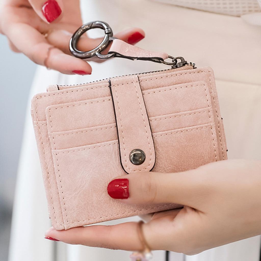 women bag Short Card Bag Solid Color Wallet Purse Simple Buckle Card Package