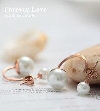 Elegante Perlas de Doble Pendiente Joyería Fina de Acero de Titanio With18K Rose Plateó Moda Mujer Mayor El Envío Libre No Se Desvanece
