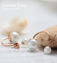 YUN RUO Elegant Double Pearls Earring Fine Jewelry Titanium Steel Rose Gold Color Fashion Woman Wholesale