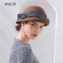 e522d9885c271 QPALCR Australia fieltro de lana para las mujeres sombreros de ala del  sombrero a cuadros arco tela Crim boinas mujer Fascinator.