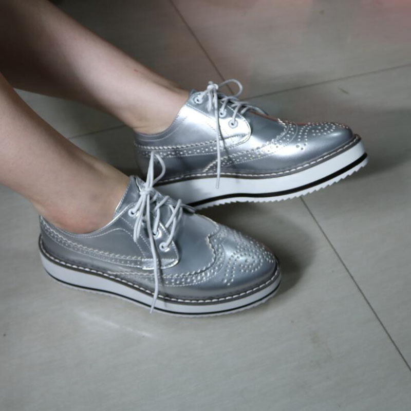 Oxford Shoes for Women White Silver Black Leather Flat Platform Oxfords Shoes