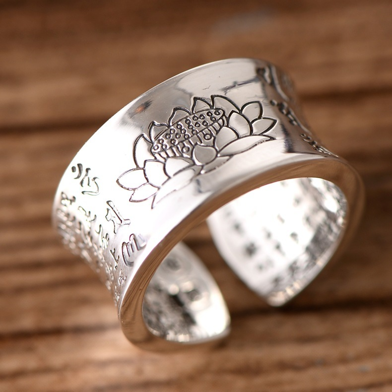 S999 six-word mantra open heart through the lotus Buddhist ring good man believes Chinese style