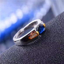 Promotion Wedding Jewelry Blue Sapphire 5*7mm Rings Fashion Female Pure Solid 925 Sterling