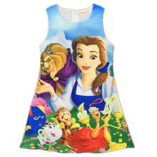 Beauty and The Beast Princess Belle Dresses Cartoon Print Flower Dress Baby Birthday Costume Clothes Princess Clothing(China)