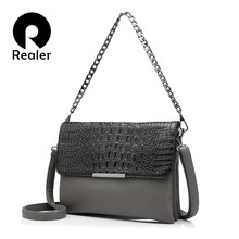 REALER brand women messenger bags clutches fashion ladies shoulder bag crocodile pattern artificial leather handbag chain totes(China)