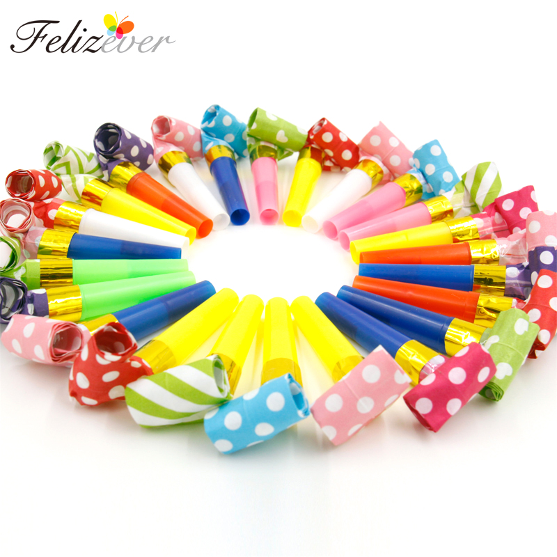 24PCS Small Multi Color Party Blowouts Whistles Kids Birthday Party Supplies Decoration Noicemaker Goody Bags Pinata