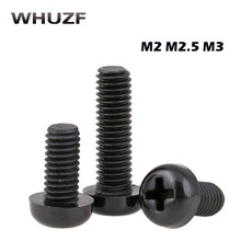 100pcs/lot Black Plastic Nylon M2 M2.5 M3 M4 Round Pan Phillips Head Screw Bolt