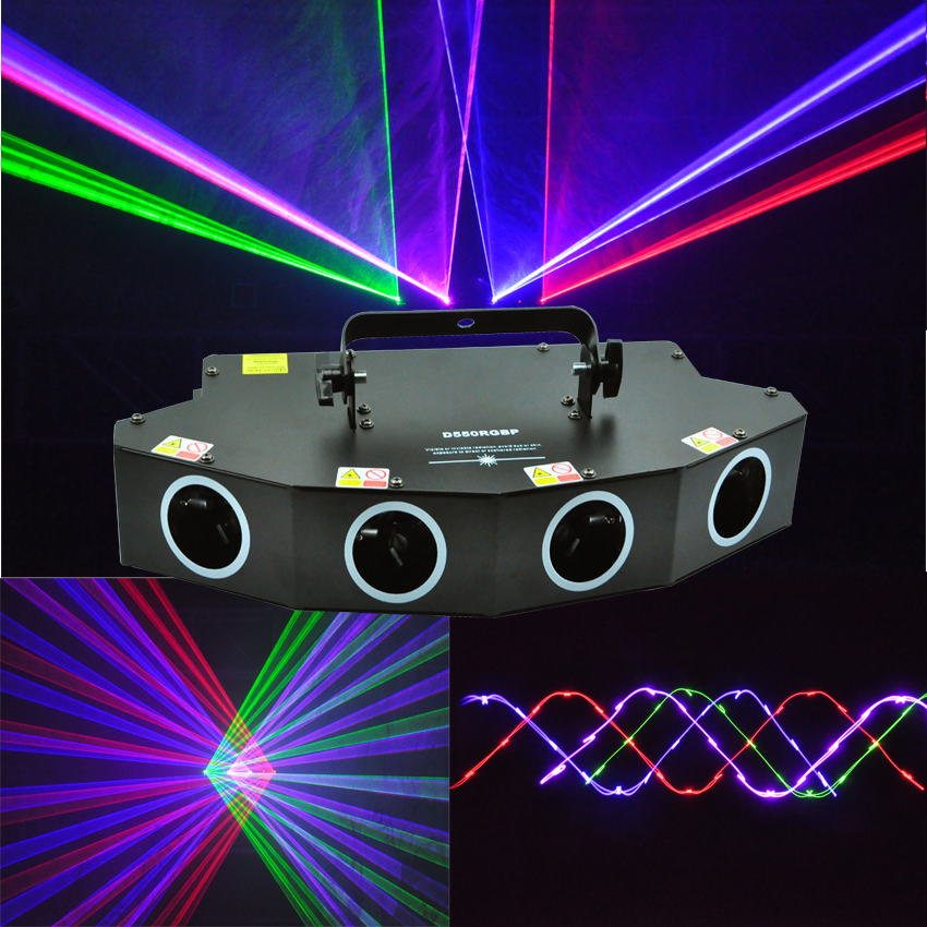 New 4 Lens 550mW RGBP LED Laser Light DMX Laser Beam Effect Projector For Disco DJ Stage Nightclub Bar Event Family Party