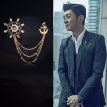 Fashion Chain Brooches Ship's Anchor Collar Bar Isignina Rose Alloy Sunflower Man's Engagement Broche Gift