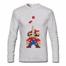 Super Mario Tetris Men's T Shirt Long Sleeve Custom Brand Clothing New Style Random Cotton Tee Shirts Homme