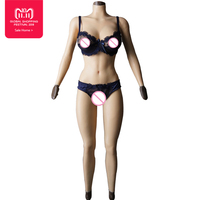 F cup solid silicone boobs vagina Bodysuit for Crossdresser with sleeves and breast form Buttocks pad breast plate fake pussy