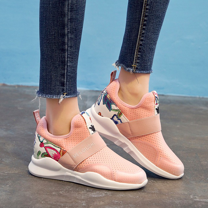 Women Casual Shoes 2018 Spring Autumn Shoes Woman Flats Fashion Sweet Breathable Lycra Women Sneakers Lightweight spring autumn fashion platform shoes casual sweet sneakers shallow women shoes size 34 43