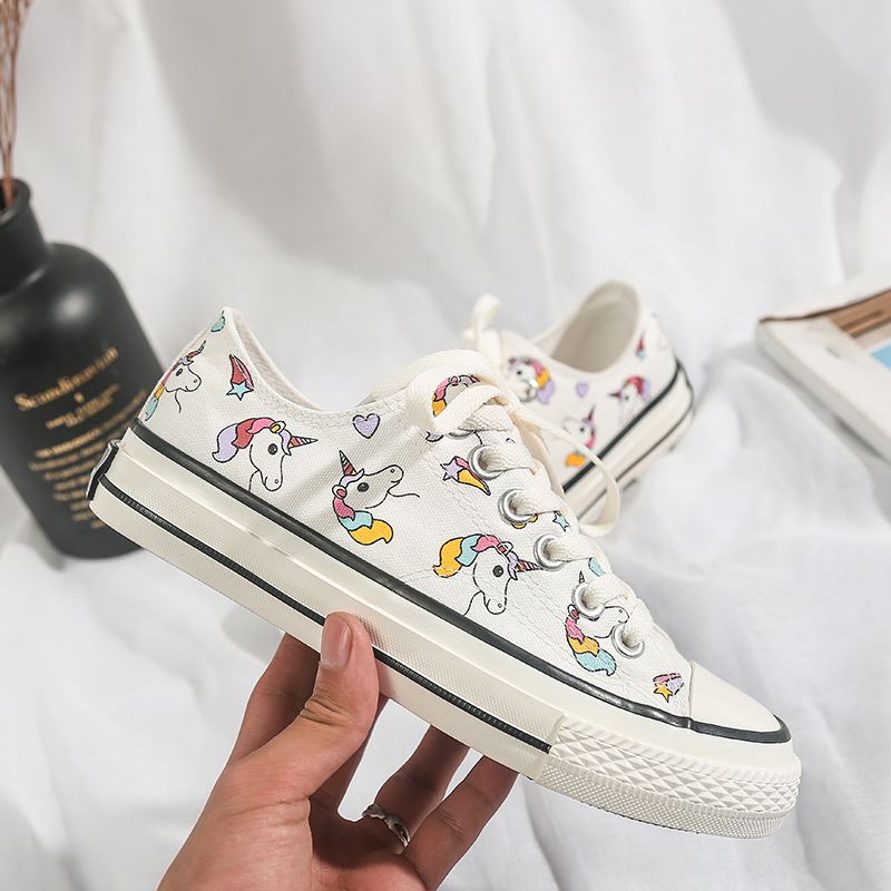 2019 Fashion New Canvas Women Shoes Hand-painted Rainbow Spring Shallow Ladies Lace-up White Casual Sneakers