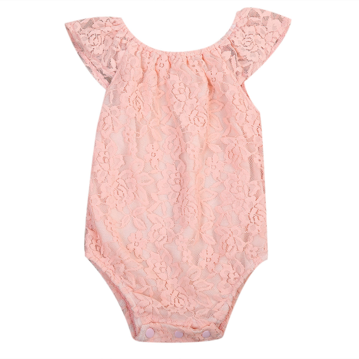 Cute Pink Baby Girls Sleeveless Lace Bodysuits Summer Kids Girl Ruffles Floral Bodysuit Jumpsuit Clothes Outfits Girls Clothing
