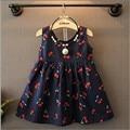 2016 a Primavera Eo Verão Novo Produto Meninas Vestido Cereja Modelada Uma Cabeçada Colete Vestido Vestido de Princesa Meninas Vestidos de Verão