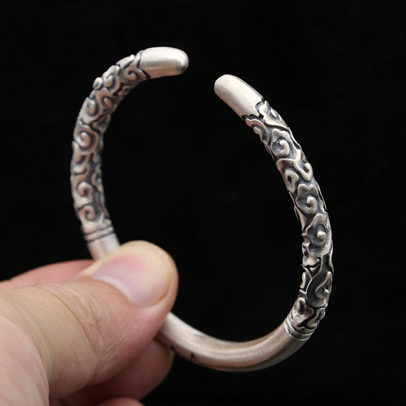 FNJ Lucky jin gu bang Bangle 925 Silver Adjustable Size 58mm Original S925 Sterling Silver Bangles for Men Jewelry
