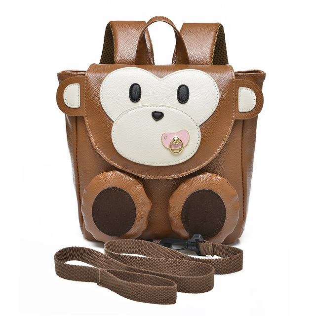 303d96bf739b 2016 Cartoon Monkey Anti-lost Schoolbags Baby Girls School Bags PU Kindergarten  Preschool Boys Children