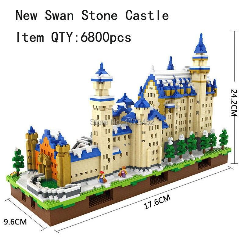 6800 pz blocchi di diamante loz World famous architettura serie di Neuschwanstein modello con effetto di luce e piccole figure - 2