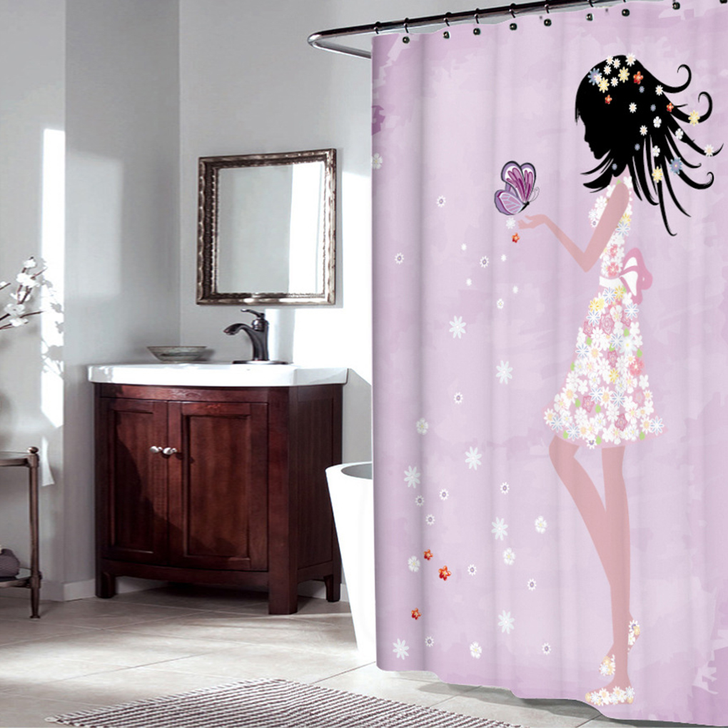 Sfoothome purple background and butterfly flowers printed for Waterproof bathroom murals