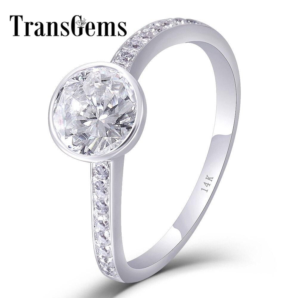 TransGems stałe 10 K/14 K białe złoto centrum 1ct 6.5 MM F kolor Moissanite pierścień Wedding Band z akcenty dla kobiet w porządku biżuteria w Pierścionki od Biżuteria i akcesoria na  Grupa 1