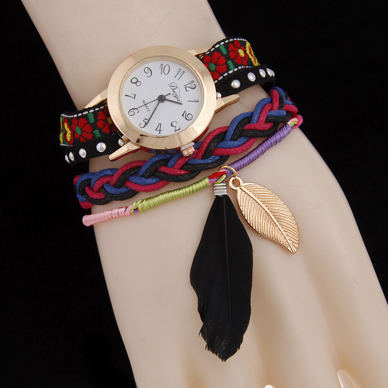 552aa197eb1 2016 Angel Fairy Feather Leaf Pendant Charm Women Bracelets BOHO Band  Quartz Wrist Watches Lady Relogio Feminina Watch -in Wrap Bracelets from  Jewelry ...