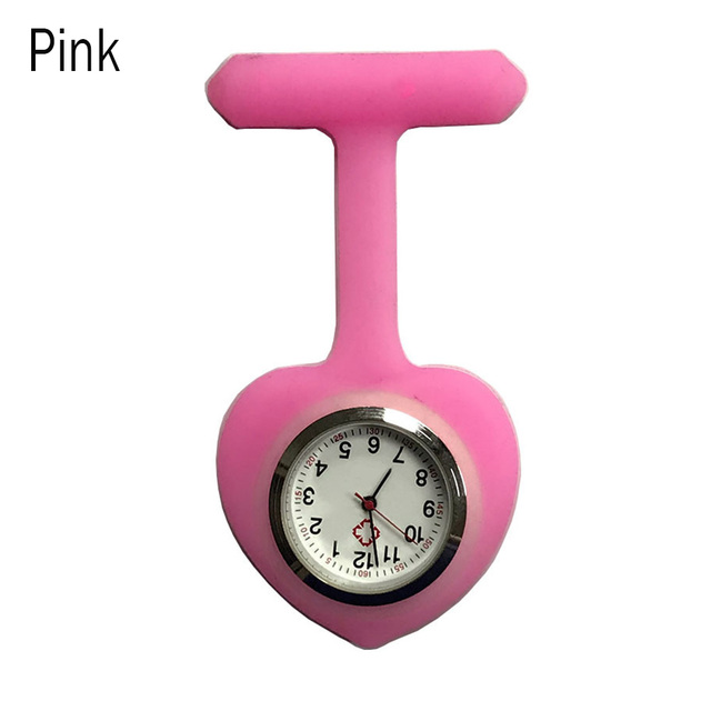 Silicone Heart Shape portable Fob Watch Pocket Brooch Clip Clock Watch Medical Quartz Nurse Pocket Watch 8 Colors